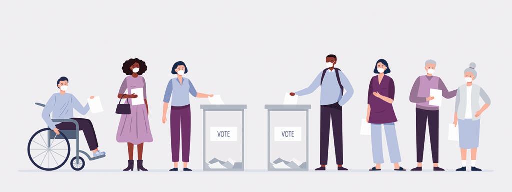 مجموعة من الناس أثناء التصويت